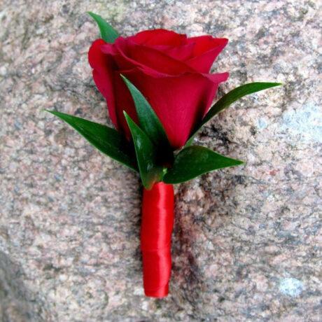 Бутоньерка из красной розы и рускуса