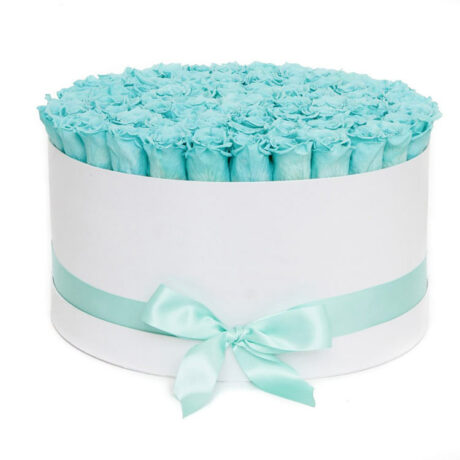 101 синяя роза в шляпной коробке