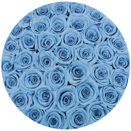 37 синих роз в шляпной коробке (сверху)