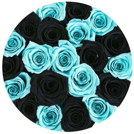 Черные и синие розы в шляпной коробке (сверху)