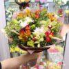 Букет из орхидей и пшеницы