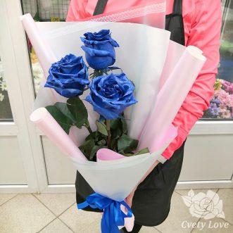 Букет из 3 синих роз