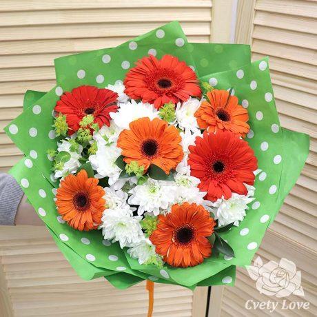 Букет из 7 гербер и кустовых хризантем