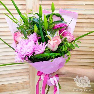 Букет из лилии, хризантемы и роз